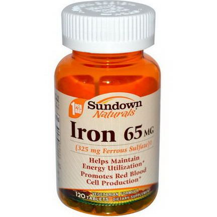 Rexall Sundown Naturals, Iron, 65mg, 120 Tablets