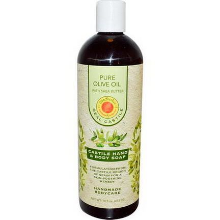 Sunfeather Soaps, Castile Hand&Body Soap, Pure Olive Oil with Shea Butter 473ml