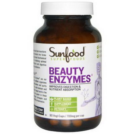 Sunfood, Beauty Enzymes, 700mg, 90 Veggie Caps