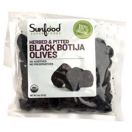 Sunfood, Organic Black Botija Olives, Herbed&Pitted 227g