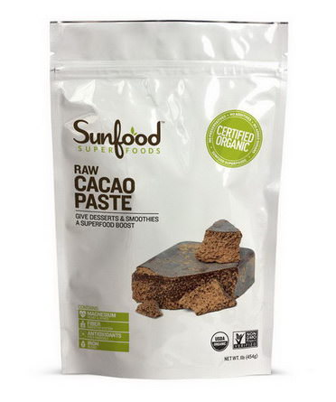 Sunfood, Organic, Raw Cacao Paste 454g