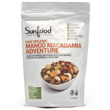 Sunfood, Raw Organic Mango Macadamia Adventure 227g
