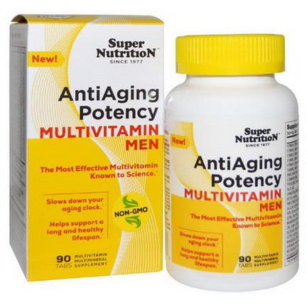 Super Nutrition, AntiAging Potency Multivitamin Men, 90 Tabs