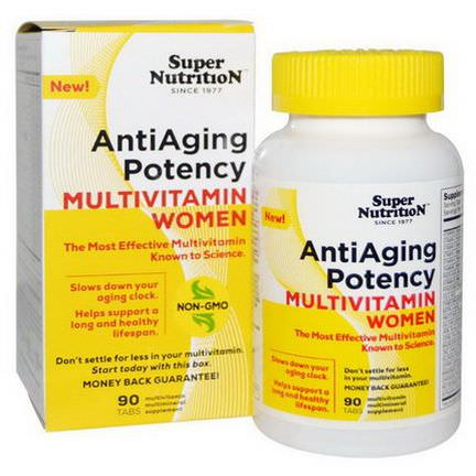 Super Nutrition, AntiAging Potency Multivitamin Women, 90 Tablets