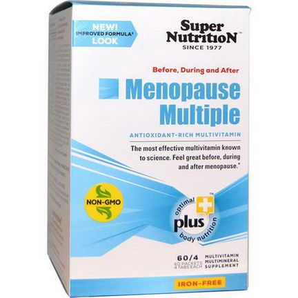 Super Nutrition, Before, During and After Menopause Multiple, Antioxidant-Rich Multivitamin, Iron Free, 60 Packets 4 Tablets Each