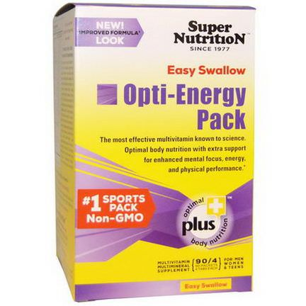 Super Nutrition, Opti-Energy Pack, Multivitamin Multimineral Supplement, 90 Packets, 4 Tablets Each