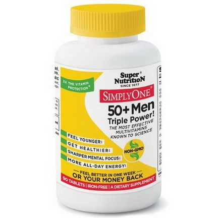 Super Nutrition, Simply One, 50+ Men Triple Power, Iron-Free, 90 Tablets