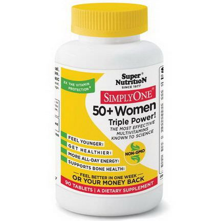 Super Nutrition, Simply One, 50+ Women Triple Power, 90 Tablets