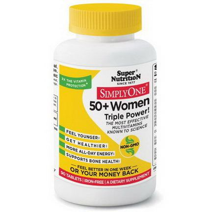 Super Nutrition, Simply One, 50+ Women Triple Power, Iron Free, 90 Tablets