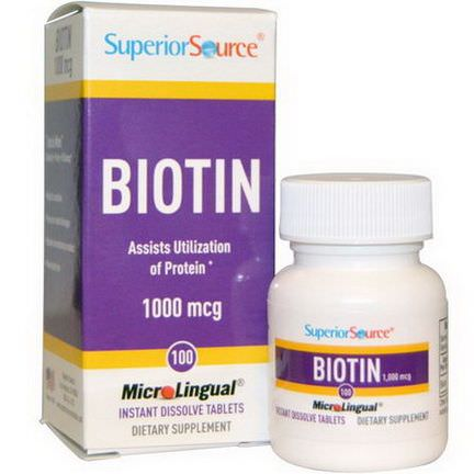 Superior Source, Biotin, 1000mcg, 100 MicroLingual Instant Dissolve Tablets