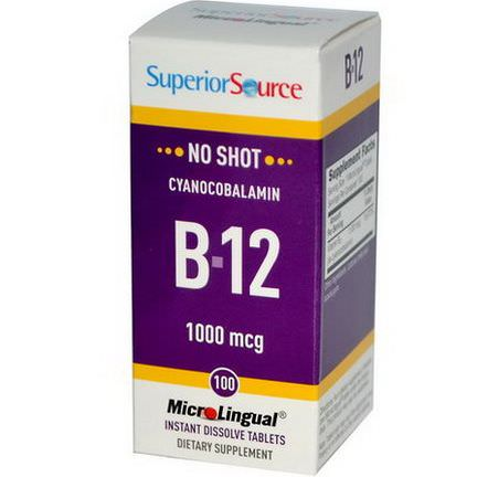 Superior Source, MicroLingual, Cyanocobalamin B12, 1000mcg, 100 Tablets