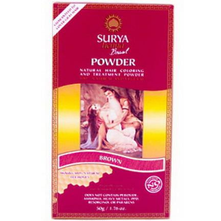 Surya Henna, Brasil Powder, Natural Hair Coloring and Treatment Powder, Brown 50g