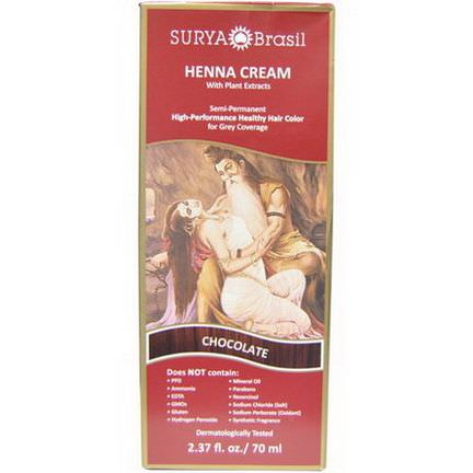 Surya Henna, Henna Cream, High-Performance Healthy Hair Color for Grey Coverage, Chocolate 70ml