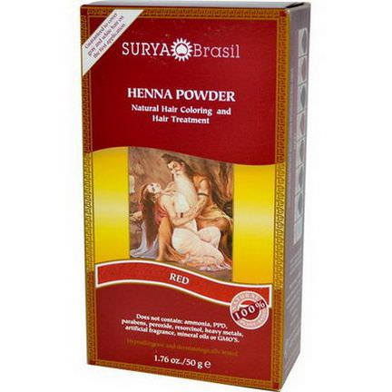 Surya Henna, Henna Powder, Natural Hair Coloring and Hair Treatment, Red 50g