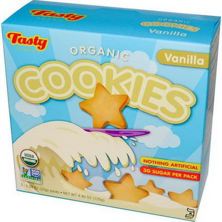 Tasty Brand, Organic Cookies, Vanilla, 5 Packs 25g Each