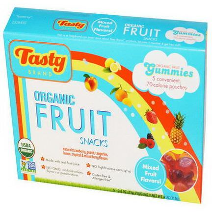 Tasty Brand, Organic Fruit Snack Gummies, Mixed Fruit Flavors, 5 Pouches 23g Each
