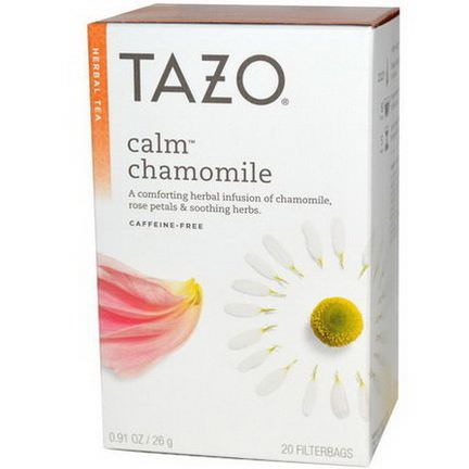 Tazo Teas, Herbal Tea, Calm Chamomile, Caffeine-Free, 20 Filterbags 26g