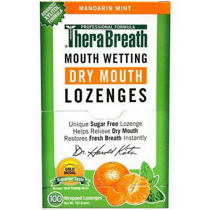 TheraBreath, Mouth Wetting Fresh Breath Lozenges, Mandarin Mint, 100 Wrapped Lozenges, 165g