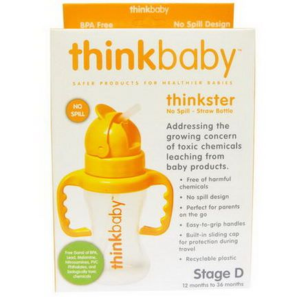 Think, Thinkbaby, Thinkster, Straw Bottle, Orange, Stage D 260ml