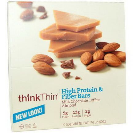 ThinkThin, High Protein&Fiber Bars, Milk Chocolate Toffee Almond, 10 Bars 50g Each