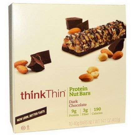 ThinkThin, Protein Nut Bars, Dark Chocolate, 10 Bars, 40g Each