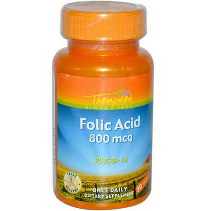 Thompson, Folic Acid, Plus B-12, 800mcg, 30 Tablets