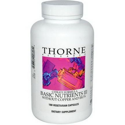 Thorne Research, Citrate Formula, Basic Nutrients III Without Copper and Iron, 180 Veggie Caps