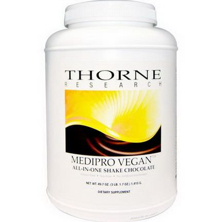 Thorne Research, Medipro Vegan, All-In-One Shake, Chocolate 1,410g