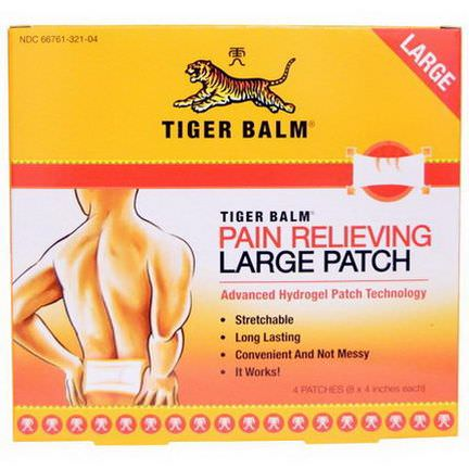 Tiger Balm, Pain Relieving Patch, Large 8 x 4 in. Each