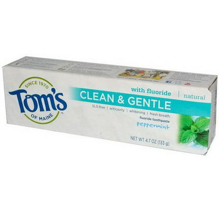Tom's of Maine, Clean&Gentle, Fluoride Toothpaste, Peppermint 133g