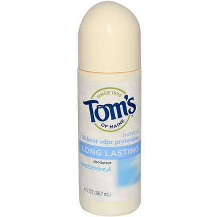 Tom's of Maine, Long Lasting Roll-On Deodorant, Unscented 88.7ml