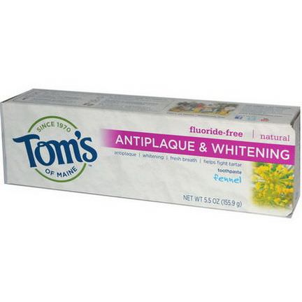 Tom's of Maine, Natural Antiplaque&Whitening Toothpaste, Flouride-Free, Fennel 155.9g