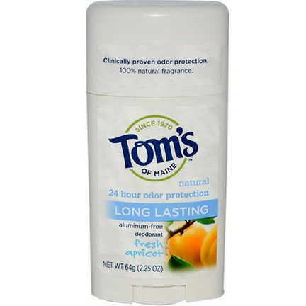 Tom's of Maine, Natural Long Lasting Deodorant, Aluminum-Free, Fresh Apricot 64g