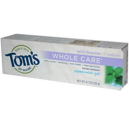 Tom's of Maine, Whole Care Flouride Toothpaste, Peppermint Gel 133g