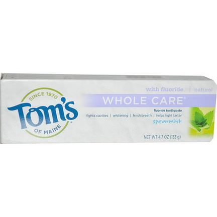Tom's of Maine, Whole Care Fluoride Toothpaste, Spearmint 133g