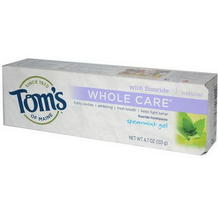 Tom's of Maine, Whole Care Fluoride Toothpaste, Spearmint Gel 133g