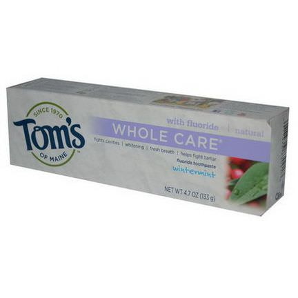 Tom's of Maine, Whole Care, Fluoride Toothpaste, Wintermint 133g