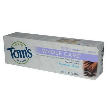 Tom's of Maine, Whole Care with Fluoride Toothpaste, Cinnamon Clove 133g