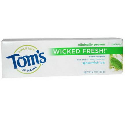 Tom's of Maine, Wicked Fresh, Fluoride Toothpaste, Spearmint Ice 133g