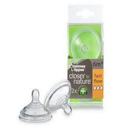 Tommee Tippee, Close to Nature, Sensitive Tummy Nipples, Fast Flow, 2 Nipples