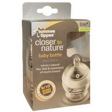 Tommee Tippee, Closer to Nature Baby Bottle, Slow Flow, 0 Months+, 1 Bottle 150ml