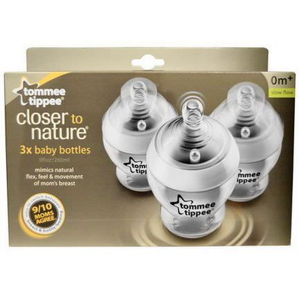 Tommee Tippee, Closer to Nature, Baby Bottles, Slow Flow, 0m+, 3 Bottles 260ml Each