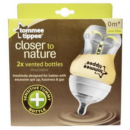 Tommee Tippee, Closer to Nature, Vented Bottles, Slow Flow, 0m+, 2 Bottles 260ml Each