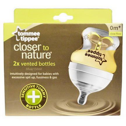 Tommee Tippee, Closer to Nature, Vented Bottles, Slow Flow, 2 Bottles 150ml