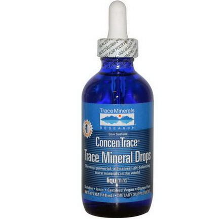 Trace Minerals Research, ConcenTrace Trace Mineral Drops 118ml, Dropper Bottle