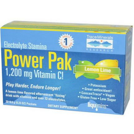Trace Minerals Research, Electrolyte Stamina, Power Pak, Lemon Lime, 32 Packets 6.4g Each