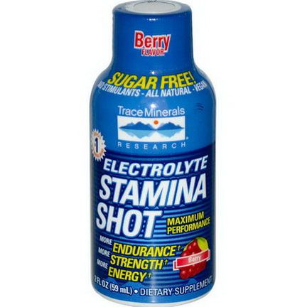 Trace Minerals Research, Electrolyte Stamina Shot, Berry 59ml