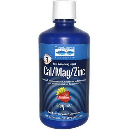 Trace Minerals Research, Fast-Absorbing Liquid, Cal/Mag/Zinc, Strawberry 946ml