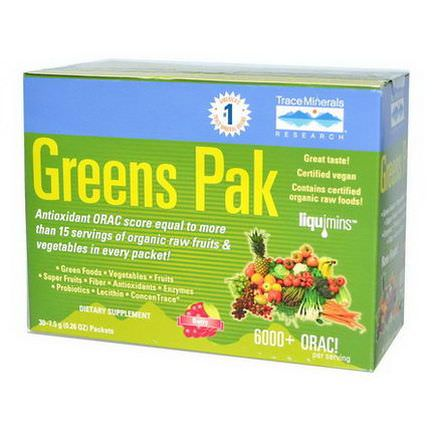 Trace Minerals Research, Greens Pak, Berry, 30 Packets 7.5g Each