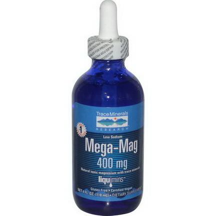 Trace Minerals Research, Mega-Mag, Natural Ionic Magnesium with Trace Minerals, 400mg 118ml